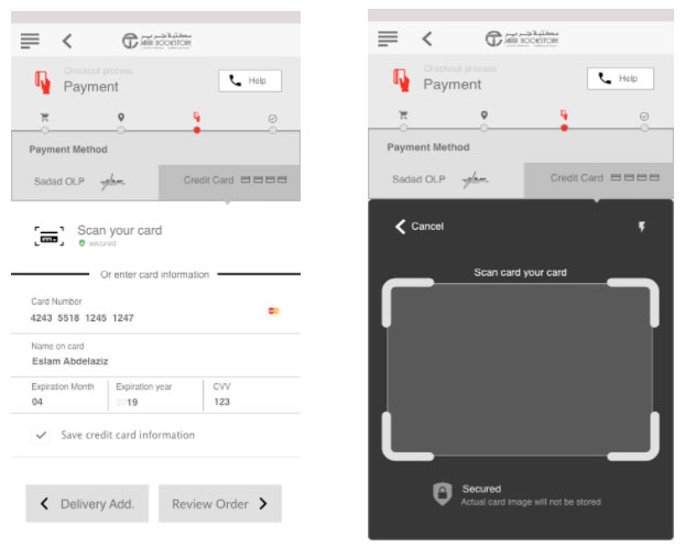 Wireframe of payment details and card scan pages
