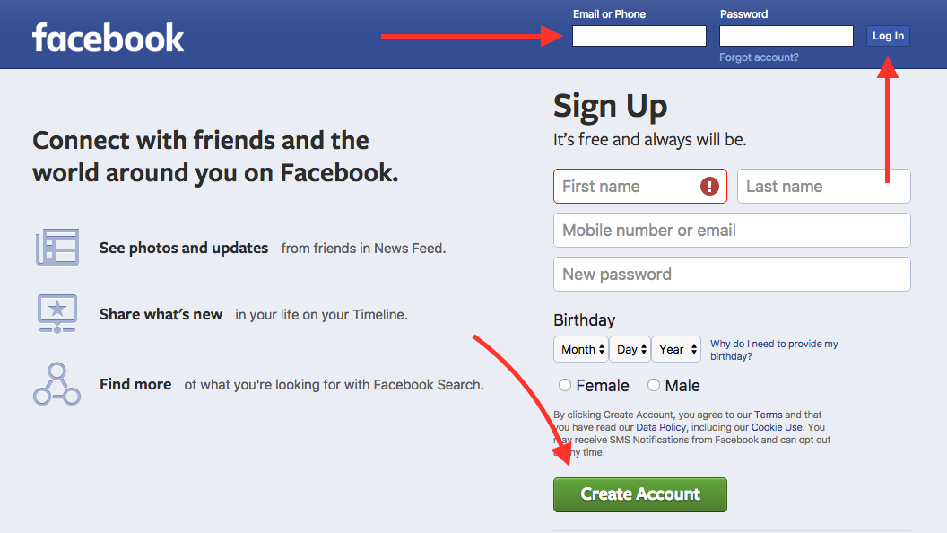 UI elements on the Facebook homepage