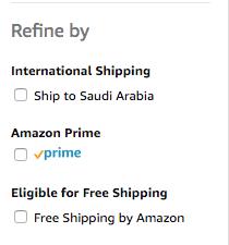 Amazon Filter Options