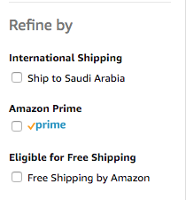 Amazon Filter Options