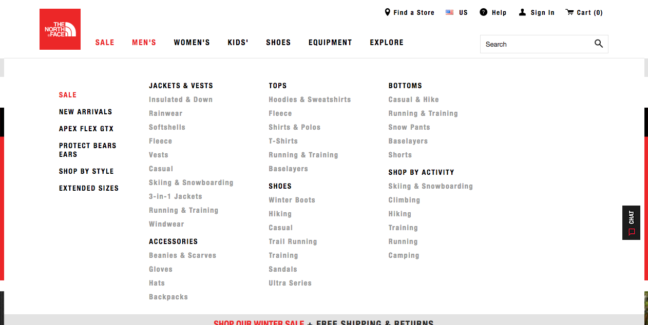 North Face Menu Dropdown